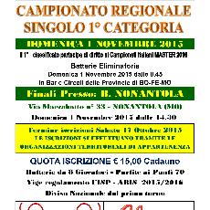 CAMPIONATO REGIONALE SINGOLO 1° CATEGORIA