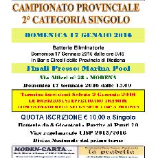 CAMPIONATO PROVINCIALE 2° CATEGORIA SINGOLO